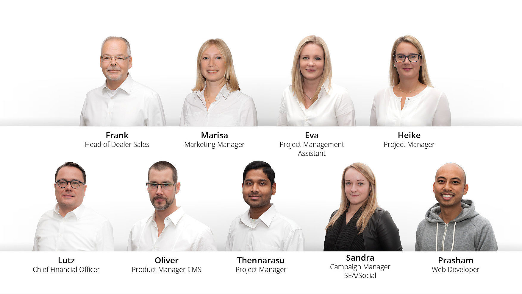 Unsere neuen Mitglieder im Modix-Team. Frank als Head of Dealer Sales, Marisa als Marketing Manager, Eva als Project Management Assistant, Heike als Project Manager, Lutz als Chief Financial Officer, Oliver als Product Manager CMS, Thennarasu als Project Manager, Sandra als Campaign Manager SEA/Social und Prasham als Webdeveloper.