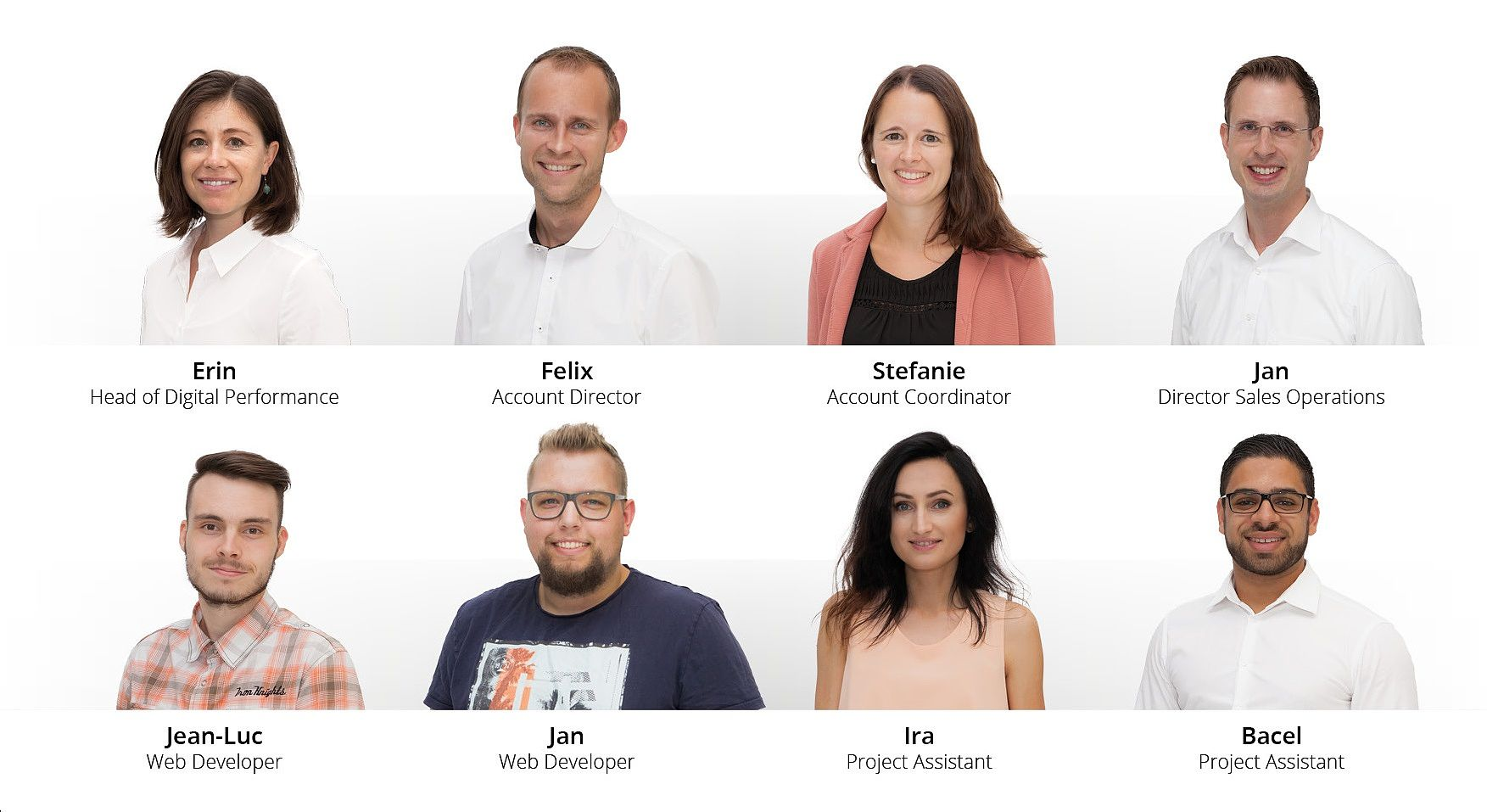 Unsere neuen Mitglieder im Modix-Team. Erina als Head of Digital Performance, Felix als Account Director, Stefanie als Account Coordinator, Jan als Director Sales Operations, Jean-Luc und Jan als Webdeveloper, Ira und Bacel als Project Assistant.